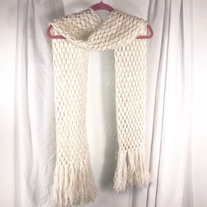 Pretty Ivory Knit Long Scarf with fringe